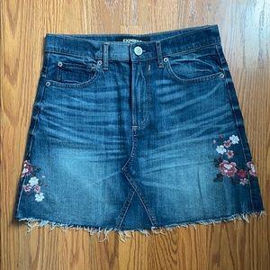 Express floral detailed mini jean skirt
